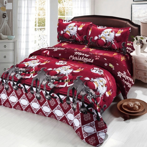 4pcs Cotton Material 3D Printed Cartoon Merry Christmas Gift Santa Claus Bedding Set Comfort Deep Pocket Bedclothes Duvet Quilt Cover Bed Sheet 2 Pillowcases