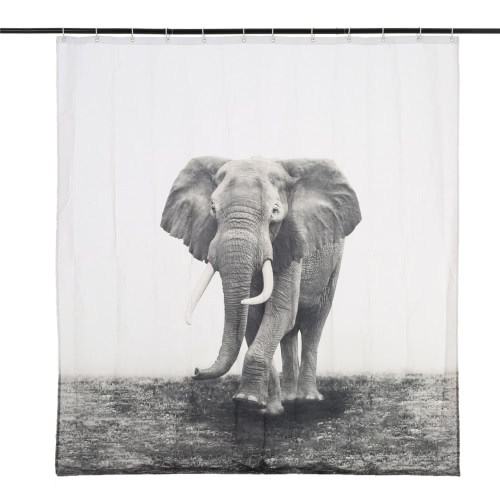 Anself 180*180cm Wild Elephant Pattern Shower Curtain Size 71