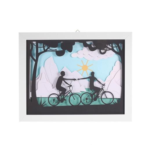 Moderne Peinture décorative 3D avec cadre délicat papier Gravure Photo mur Salon Home Decor Décoration 24 * 30cm