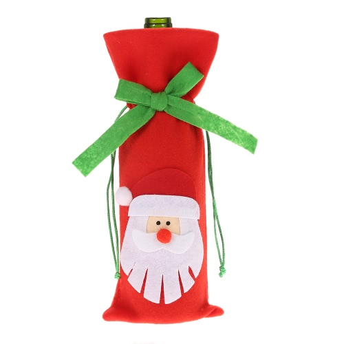 Festnight 1PC Red Wine Bottle Capa Jantar Decoração da tabela do Natal Bolsa partido Home Decor Papai Noel