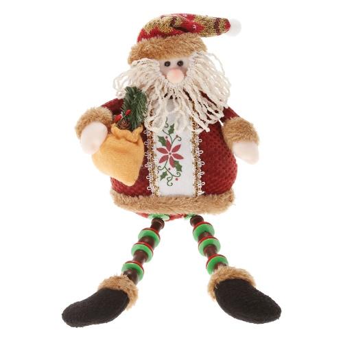 Święto Super Cute Boże Narodzenie Plush Toy Adorable Long Leg Sitting Santa Clause Snowman reniferów Doll Dekoracje Narciarskie
