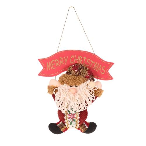 Festnight Lovely Christmas Santa Claus Snowman Hanging Pendant Ornament Xmas Tree Door Decor Festival Party Decorations