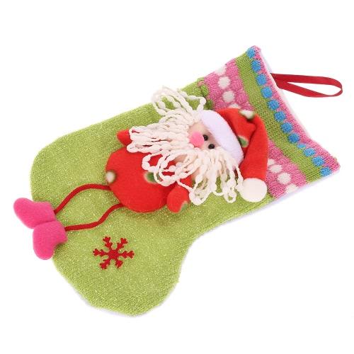 Muñeco de nieve lindo / Santa Claus / Reno de la Navidad Bolsa de regalo de caramelo Presente la media de Navidad árbol de Navidad calcetín de Navidad colgante decoración de la fuente