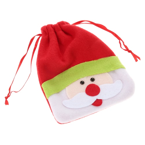 Festnight Mini Lovely Santa Claus Christmas Gift Candy Cookie Chocolate Drawstring Bag Festival Decoration
