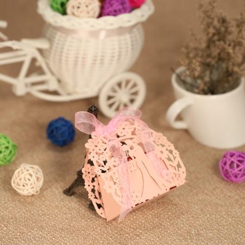 50pcs Delicate Mini DIY Süßigkeit Keks Geschenkboxen geschnitzten Muster mit Band-Partei-Hochzeit Bankett Braut Supplies