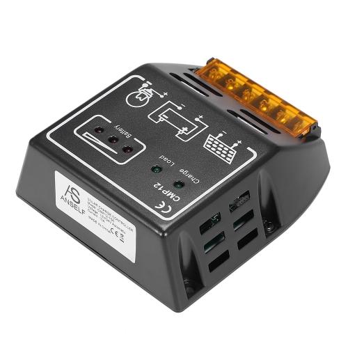 Anself 10A 12V / 24V contrôleur de charge solaire Régulateur de charge pour panneau solaire Batterie Protection contre les surcharges
