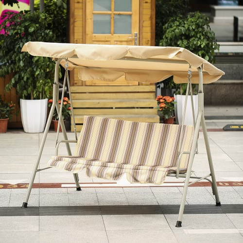 IKayaa Asiento para 3 personas Patio Canopy Swing Glider Hamaca Outdoor Porch Swing Chair Muebles para patio trasero Marco metálico con toldo ajustable