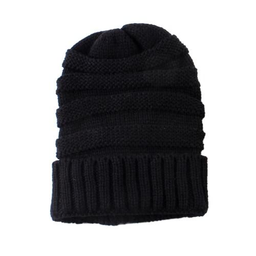 ファッションメンズレディースキッド秋冬暖かいユニセックス弾性ヘッドスカルキャップニット編みウールかぎ針編みビーニースキーブランクカラー帽子