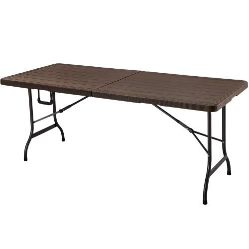 iKayaa – Table pliante style bois – brun foncé