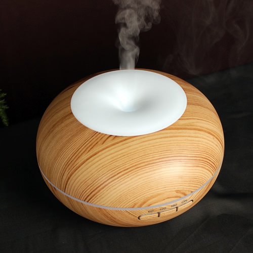 Portable 300ml Essential Oil Aroma Diffuser Cool Mist Maker Ultrasonic Humidifier Air Aromatherapy Atomizer with 7 Colors LED light for Home Office Study Yoga Spa Wood Grain Auto Shut-off