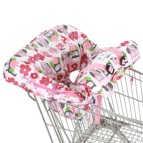 Compact Portable 2-in-1 Supermarket Shopping Cart Cover Mat Polyester High Chair Cover Child Protection Cushion for Baby
