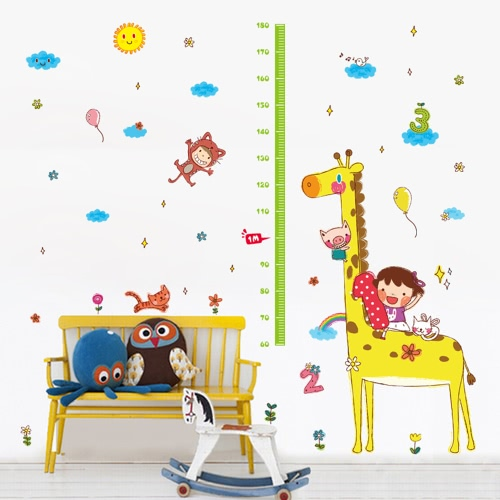 Cute Height Chart Wall Sticker Removable Lovely Animals & Girl Wallpaper Art Decal Room Decoration Reusable Peel and Stick Wall Sticker Wall Height Chart Height Chart for Kids Giraffe