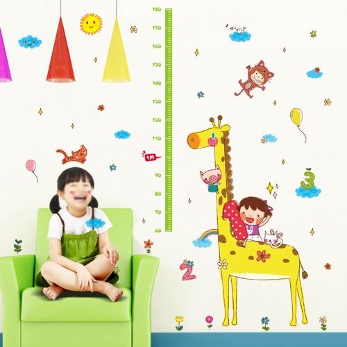 Niedliche Höhen-Diagramm-Wand-Aufkleber Entfernbare reizende Tiere u. Mädchen-Tapete-Kunst-Abziehbild-Raum-Dekoration Wiederverwendbare Schale und Stock-Wand-Wand-Wand-Diagramm-Diagramm für Kinder-Giraffe