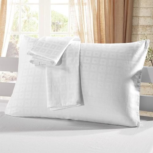 2pcs/set Cotton Pillow Case White Check Pattern Pillow Slip Well-made Soft Pillowcases Plaid Pattern Pillow Slipcover with Hidden Zipper Closure--Standard Size 20