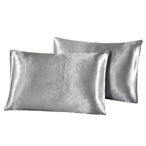 2pcs/set Soft Silk-like Pillow Cases Well-made Envelope Type Pillow Slipcover Silky Smooth Pillowcase Solid Color Pillow Slip--Standard Size 20