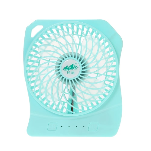 Brushless Mini Fan USB Rechargeable Handy 3 Controllable Speed and LED Light Desk Fan