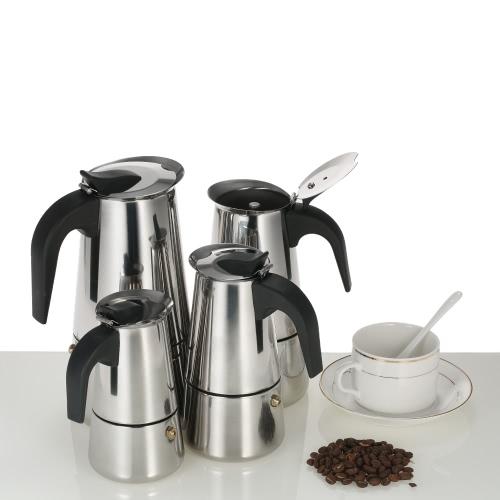 450 мл 9-часовая нержавеющая сталь Espresso Percolator Coffee Stovetop Maker Mocha Pot для использования на газовой или электрической плите
