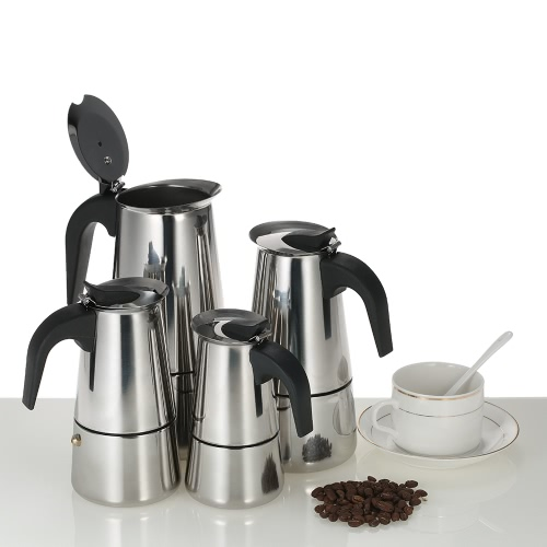 Anself100ml 2-Cup Stainless Steel Espresso Percolator Coffee Stovetop Maker Mocha Pot for Use on Gas or Electric Stove