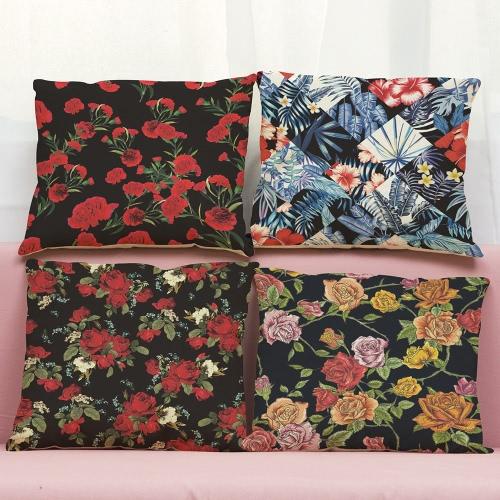Moda de alta calidad de flores de lino coloridas Multicolor Rosas Rojas Hojas de hierba verde Cuadrado decorativo Impreso Throw almohada Fundas de cojín para la sala de Office Sofa Car Decor