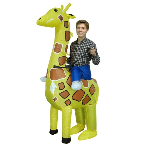 Adorable Adult Inflatable Costume Cute Giraffe Inflatable Fancy Dress Costume Rider Ride Me Costume d'animal pour Festival Party Gala Parade Halloween Carnival Party Cosplay Prop