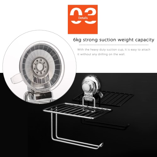 Wall-mounted Bathroom Suction Tissue Holder with Shelf Stainless Steel Round Paper Towel Roll Paper Holder