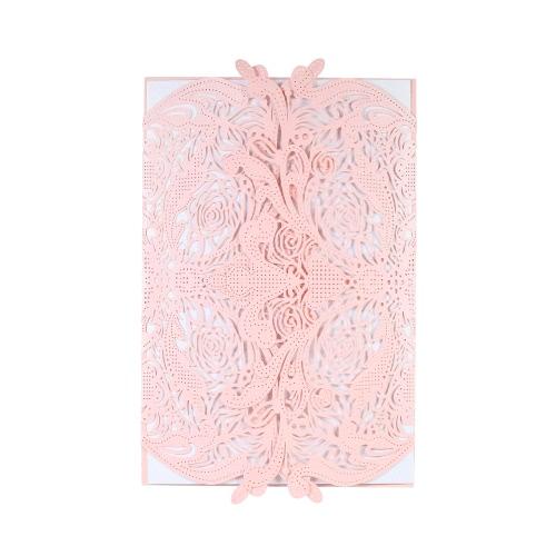 20pcs Invitation Holders + 20pcs Inner Sheets Wedding Invitation Card Set Pearl Paper Laser Cut Hollow Floral Pattern Invitation Cards