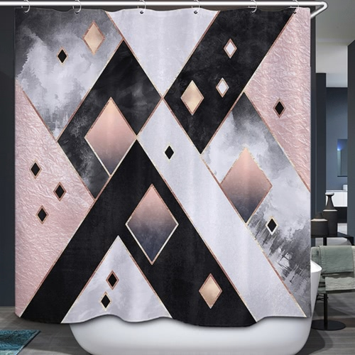 72 * 72 '' Печатный 3D-эффект Декоративная занавеска для ванной комнаты Полиэстер Водонепроницаемая мягкая занавеска для душа с крючками 12шт
