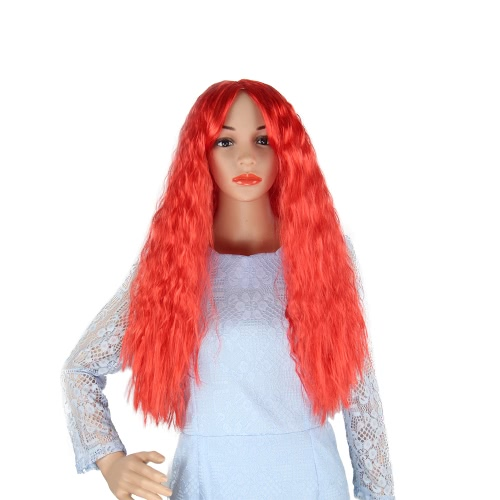 Adultos Niños 28 '' Long Corn Curly Peluca Full Head Red Sintético Fluffy Wavy Wigs para Halloween Cosplay Disfraces
