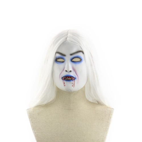Latex Full Head Horror Scary Mask Wig Bloody Toothy Zombie Masks with Long White Hair for Halloween Cosplay Costume Party