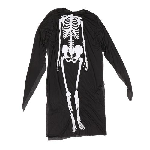 Взрослые Печатные скелетные костюмы Мужчины Женщины Страшные привидения Хэллоуин Костюмы для Cosplay Masquerade Party Необычные платья