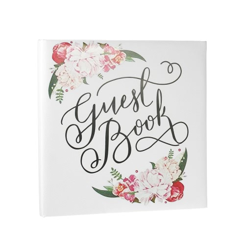 72-Pages White Floral Satin Cover Wedding Guest Book Hardcover Double-Sided Wedding Guestbook
