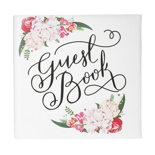 72-Seiten White Floral Satin Cover Hochzeit Gästebuch Hardcover Double-Sided Hochzeit Gästebuch