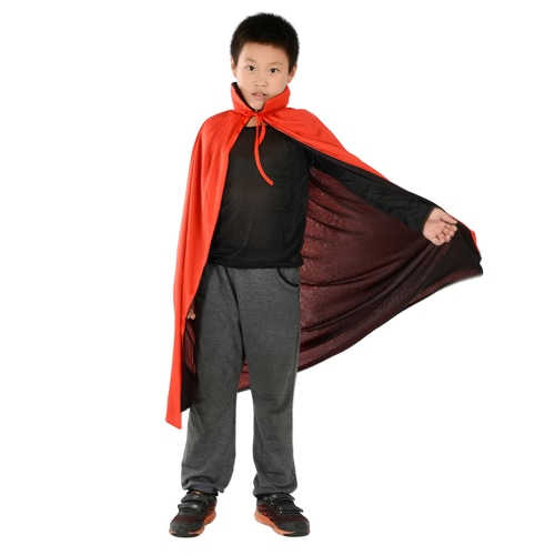 Kids 35 inches Long Black & Red Reversible Vampire Cape Witch Wizard Devil Cloak with Stand Collar for Halloween Easter Costume Pa
