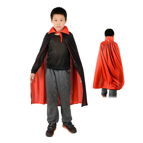 Kids 35 inches Long Black & Red Reversible Vampire Cape Witch Wizard Devil Cloak with Stand Collar for Halloween Easter Costume Party