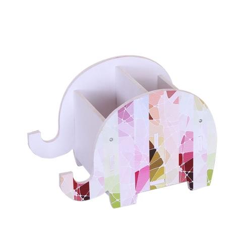 Hölzerner Aufbewahrungsbehälter Bunter Druck-Elefant-Form-Feder-Behälter-Handy-Halter DIY Tischcontainer