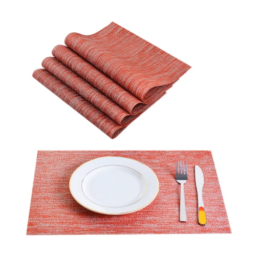 12 * 18 inches PVC Heat-resistant Woven Placemat Stain-resistant Anti-skid Washable Dining Table Mats Placemats--Set of 4 Red White