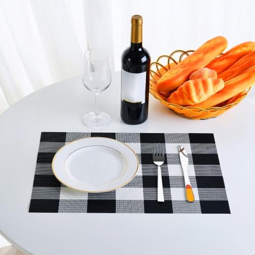 12 * 18 Zoll PVC Hitzebeständiges Plaidgewebtes Placemat Fleck-beständiges rutschfestes waschbares Speisetischmatten Tischsets - Satz von 4 Schwarzes
