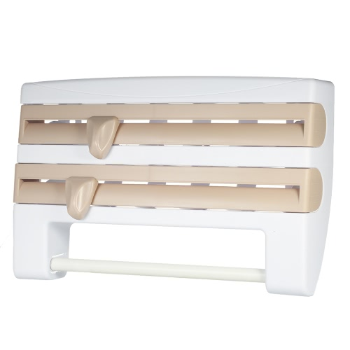 Practical Wall-mounted Plastic Wrap Holder High Quality Paper Towel Rack Multifunctional Paper Towel Foil Plastic Wrap Dispenser with Spice Rack Kitchen Storage and Organization Product Wall-mount Holder