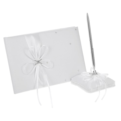 White Satin Ribbon Wedding Guset Signature Book and Pen Stand Set with Rhinestone Faux Beads Decoration