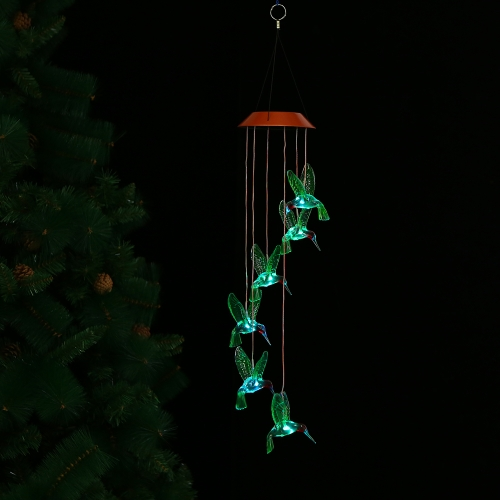 Color-Changing LED Solar Mobile Wind Chime Pathonor Changement de couleur lumineuse Étanche Six Hummingbird Wind Chimes Pour la maison / Party / Night Garden Decoration