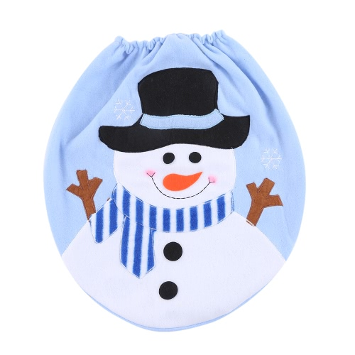 Soft Polyester Snowman Christmas Toilet Seat Cover Christmas Closestool Décorations Ornements pour la salle de bain
