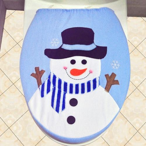 Tampa de assento de papel higiênico de Natal de Snowman de poliéster suave