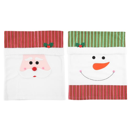 2pcs/set Christmas Chair Back Covers Snowman Santa Christmas Dinner Slipcovers Set Decorations Ornaments