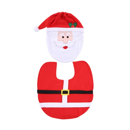 Soft Polyester Christmas Toilet Seat Cover + U-shaped Anti-slip Bathroom Rug Bathmat Set Christmas Decorations Ornaments--Santa Claus