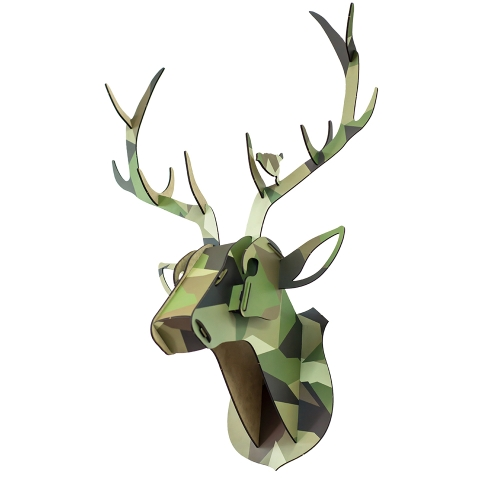 3D Wooden Deer Animal Head DIY Wood Home Decor Kit Art Crafts Wall Hanging Decor Pendant Best Gifts Style 1