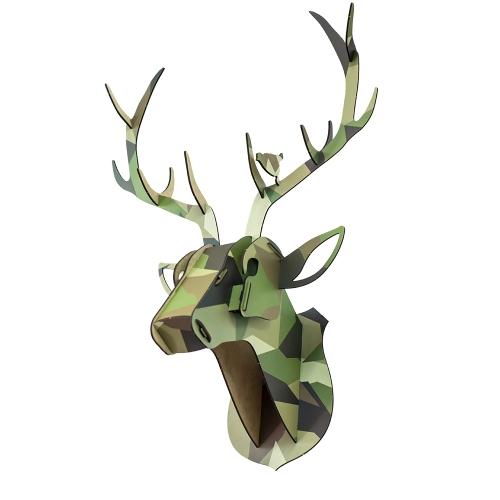 Cabeza de animal de ciervos de madera 3D bricolaje kit de decoración de casa de madera arte artesanía pared colgante decoración colgante mejores regalos estilo 1