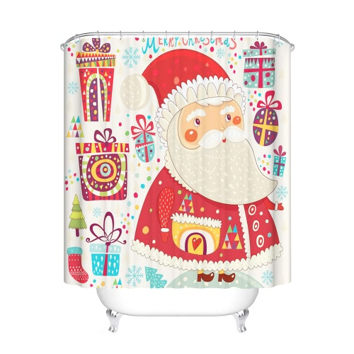 72 * 72'' Christmas Santa Bathroom Curtain Polyester Waterproof Mildewproof Shower Curtain with 12pcs Ring Hooks Christmas Decorations