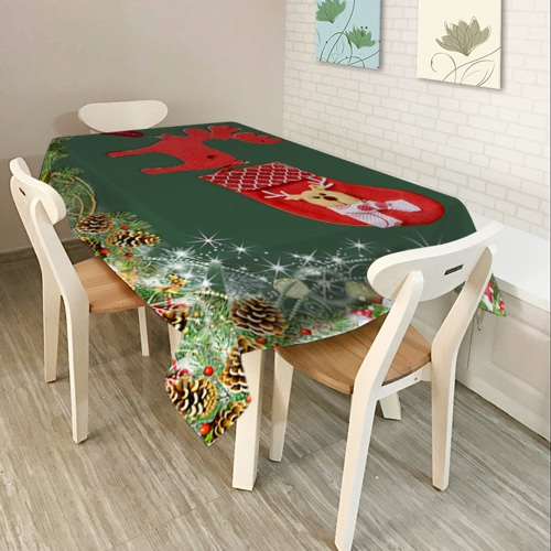 80 * 60 '' Rectangle Nappe de noce de Noël Polyester Imprimé Table basse Décorations de Noël