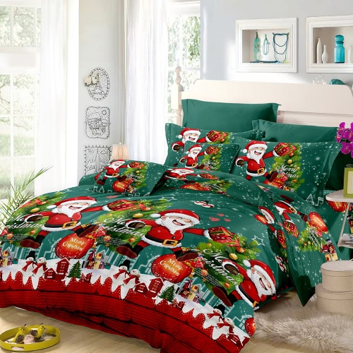 Christmas Santa Bedding Set Polyester 3D Printed Duvet Cover + 2pcs Pillowcases + Bed Sheet Set Christmas Bedroom Decorations