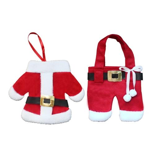 3 Juegos de Navidad Santa Traje Pantalones Estilo Cuchillería Sostenedores Fork Cuchillo Cuchara Bolsas Pocekts Set Navidad Decoración Oranments